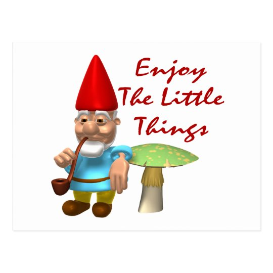 Enjoy The Little Things Gnome Postcard