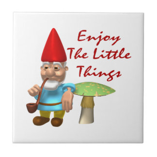 Enjoy The Little Things Gnome Small Square Tile
