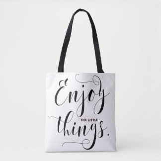 Enjoy The Little Things Modern Calligraphy Pattern Tote Bag