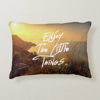 """Enjoy the little Things""  Quote Sunset Sea View Decorative Pillow"