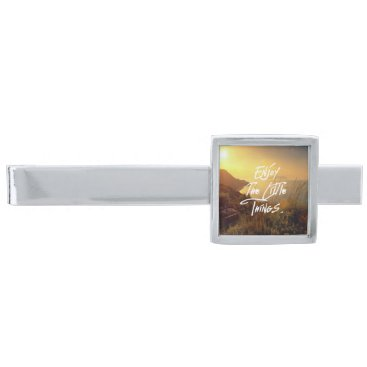 "Beach Themed ""Enjoy the little Things""  Quote Sunset Sea View Silver Finish Tie Clip"