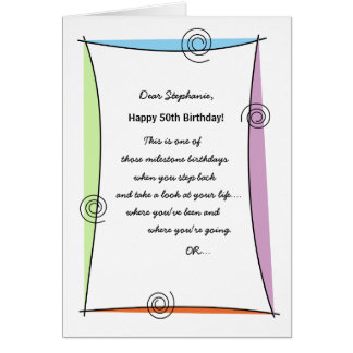 Enjoy the moment 50th Birthday Cards