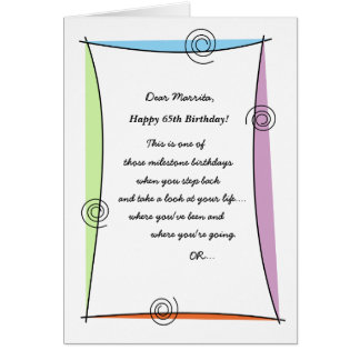 Enjoy the moment 65th Birthday Card