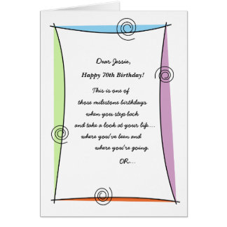 Enjoy the moment 70th Birthday Card