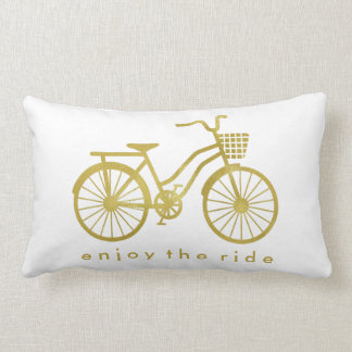 Enjoy the Ride Chic Gold Bicycle on White Pillows