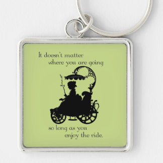 Enjoy the Ride Silver-Colored Square Keychain