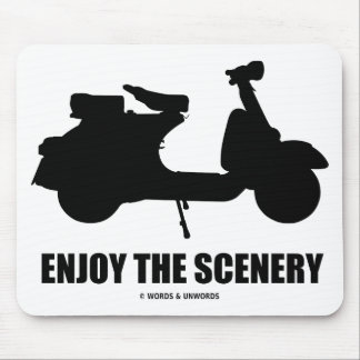 Enjoy The Scenery (Motor Scooter Silhouette) Mousepads