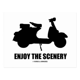 Enjoy The Scenery (Motor Scooter Silhouette) Postcards