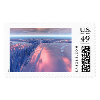 Enjoy this landscape scene featuring a reflective postage stamp