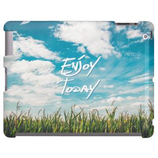 """Enjoy Today"" Quote Green Field Blue Sky Horizon"