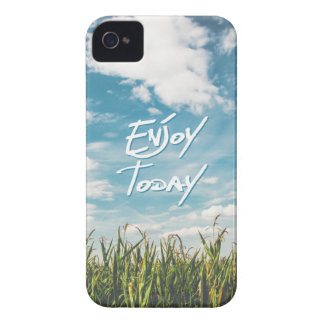 """Enjoy Today"" Quote Green Field Blue Sky Horizon iPhone 4 Case-Mate Case"