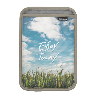 """Enjoy Today"" Quote Green Field Blue Sky Horizon Sleeve For iPad Mini"