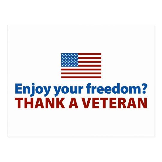 Enjoy Your Freedom? Thank a Veteran. Postcard