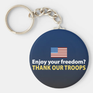 Enjoy Your Freedom? Thank Our Troops Basic Round Button Keychain