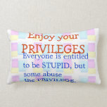 Enjoy your STUPID Privilages Pillow