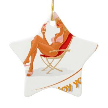 Beach Themed Enjoy your summer ceramic ornament