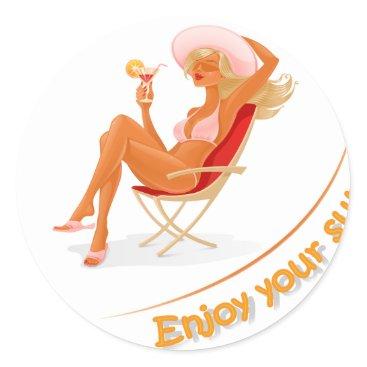 Beach Themed Enjoy your summer classic round sticker