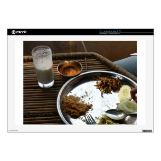 Enjoying a plate of Rajasthani food on a steel pla Decal For Laptop