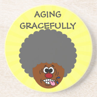 Enjoying aging gracefully into second childhood drink coaster