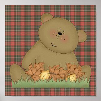 enjoying autumn teddy bear poster