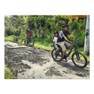 Enjoying cycling on a rough track photo print