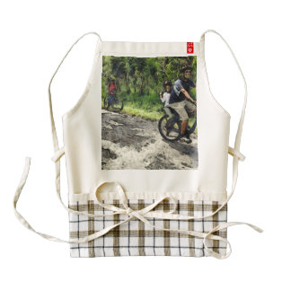 Enjoying cycling on a rough track zazzle HEART apron