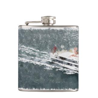 Enjoying on a fast boat flask