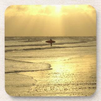 Enjoying The Beach at Sunset Beverage Coaster