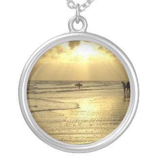 Enjoying the Beach at Sunset Round Pendant Necklace