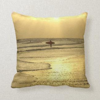 Enjoying The Beach at Sunset Throw Pillow
