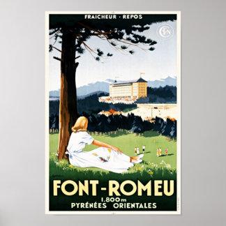 Enjoying The View Font Romeu France Vintage Travel Poster