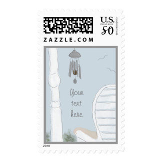 Enjoying the Wind Chimes Postage Stamp