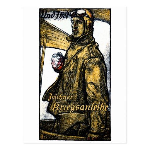 Enlace de guerra alemán de la aviación de WWI Tarjetas Postales