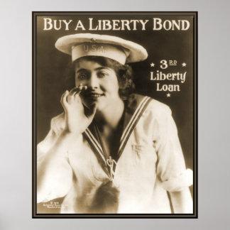 Enlace WW1 de la libertad de la marina de guerra Póster