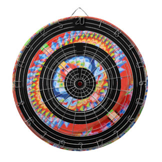 Enlarged Jewel Print  on Satin Silk Black Wheels Dart Board