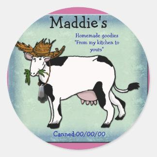 enlatado de la vaca etiquetas redondas