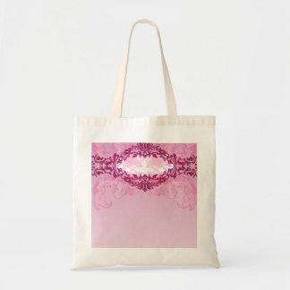 Enlightening pink damask and floral gift tote bag