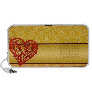 Enlightening red colored heart mp3 speakers