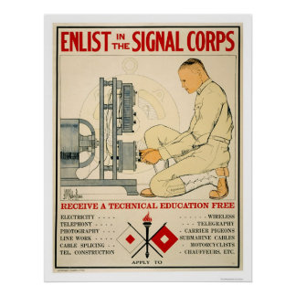 Enlist in Signal Corps 1919 Poster