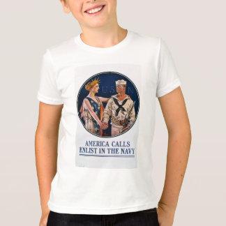 Enlist in the U.S. Navy - Vintage War Propaganda T-Shirt
