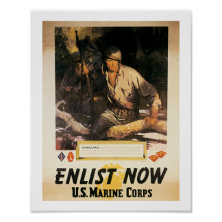 Enlist Now - US Marine Corps Poster
