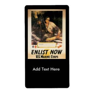 Enlist Now World War II Label