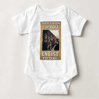 """Enlist"" Old U.S. Military Poster circa 1915 Baby Bodysuit"
