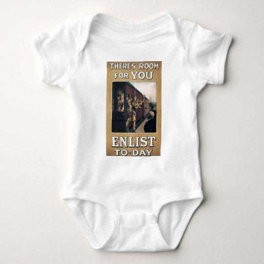 """Enlist"" Old U.S. Military Poster circa 1915 Baby Bodysuit"