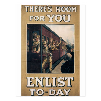 """Enlist"" Old U.S. Military Poster circa 1915 Postcard"
