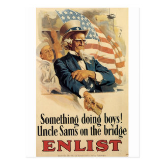 """Enlist"" Old U.S. Military Poster circa 1917 Postcard"