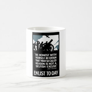 Enlist To-Day -- Lord Kitchener WWI Coffee Mug