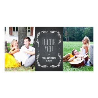 Enmarcar las hojas que el casarse le agradece card tarjeta con foto personalizada