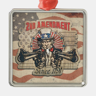 Enmienda 1791 del vintage segundo adorno navideño cuadrado de metal