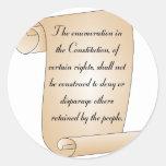 Enmienda constitucional 9 pegatina redonda